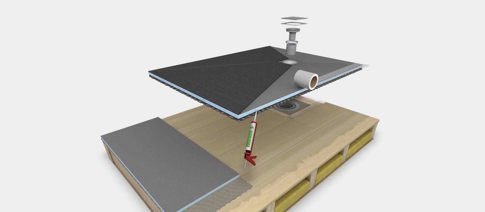 centrale afvoer op houten vloeren opbouw fundo ligno. Black Bedroom Furniture Sets. Home Design Ideas