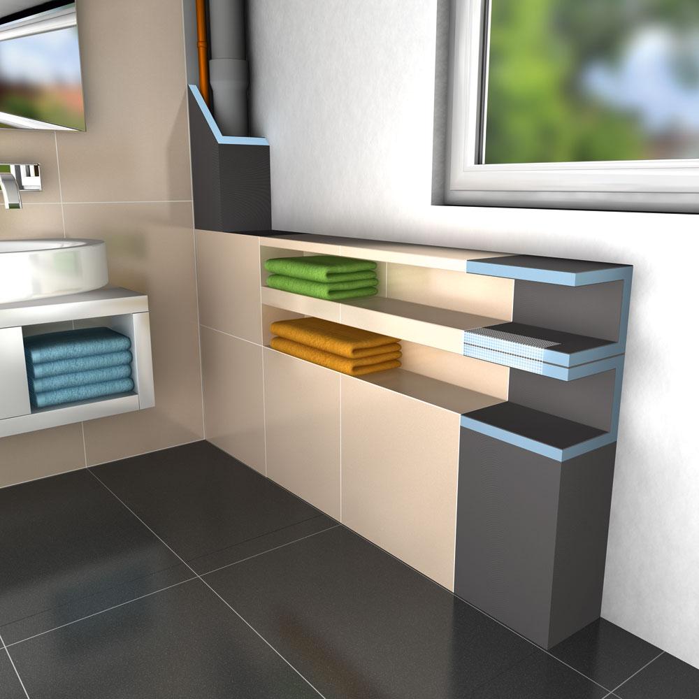 wedi mensolo l u prefabelementen voor schappen en leidingbekledingen. Black Bedroom Furniture Sets. Home Design Ideas